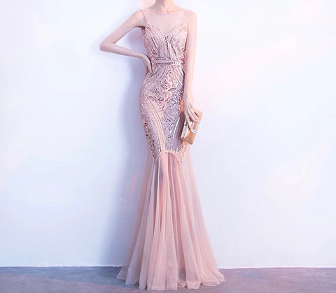 SEQUINNED CONTRAST HEM GOWN In Blush (S-XXL) - Gowns.sg