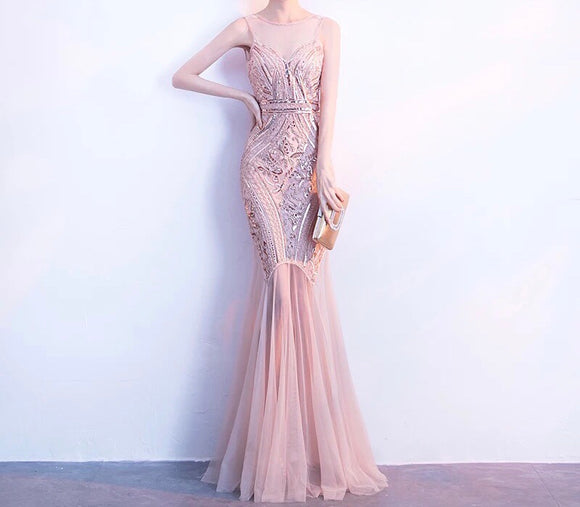 SEQUINNED CONTRAST HEM GOWN In Blush (S-XXL)