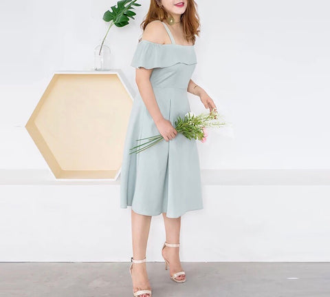Cut Out Dress in Mint (L-5XL) - Gowns.sg