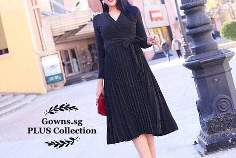 Shimmer Wrap Plus Dress (L Onwards)<q¥dIKw0K77xcM¥q> - Gowns.sg