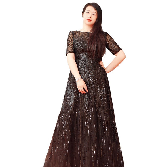 Sparkle In Black Sequin Plus Gown (XL-10XL) - Gowns.sg