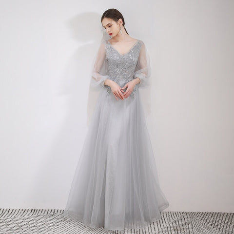 Elegant Sleeves Dress - Gowns.sg