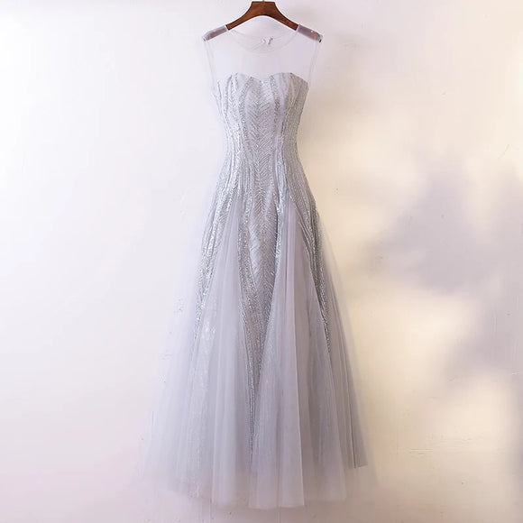 Jessmine Illusion Gown in Grey - Gowns.sg