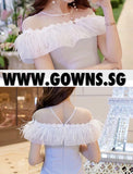 Christophe Shoulder Frill Dress (S/M/L) - Gowns.sg