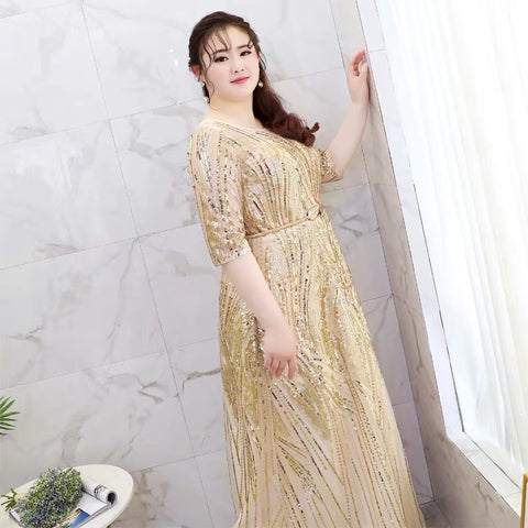 Golden Myriad Plus Gown (3XL Upwards) - Gowns.sg
