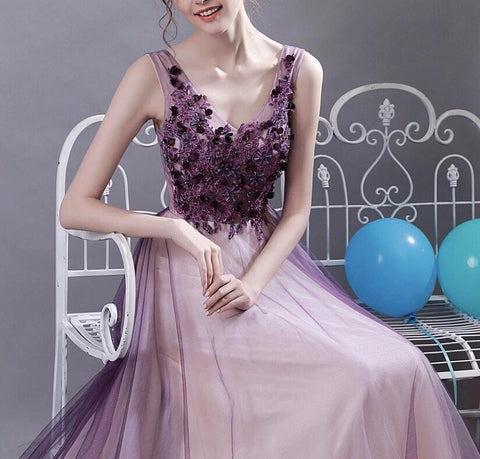 <EG050>Crystal Purple Evening Gown - Gowns.sg
