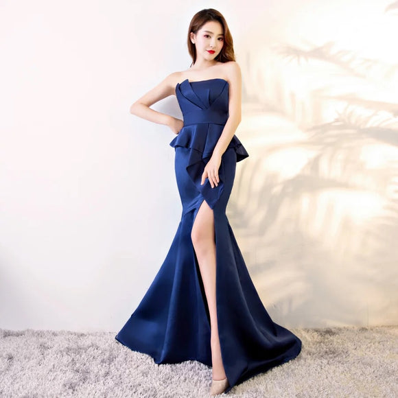 Tina Tube Peplum Gown - Gowns.sg