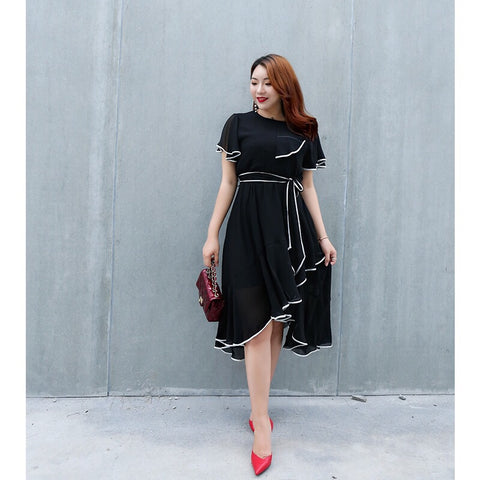 Ruffle Dress (L-4XL) - Gowns.sg