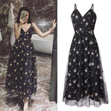 Star-Patterned Strap Maxi Dress (L-5XL) - Gowns.sg