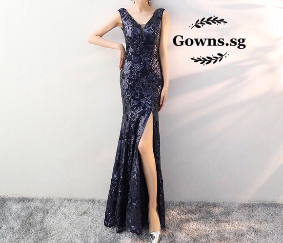 Therese Sequinned Fitted Gown - Gowns.sg