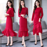 Extended Fishtail Hem Dress with Sleeves (M-XXL) - Gowns.sg