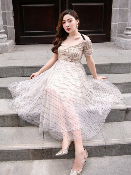Retro Mesh Plus Dress With Ribbon - Gowns.sg