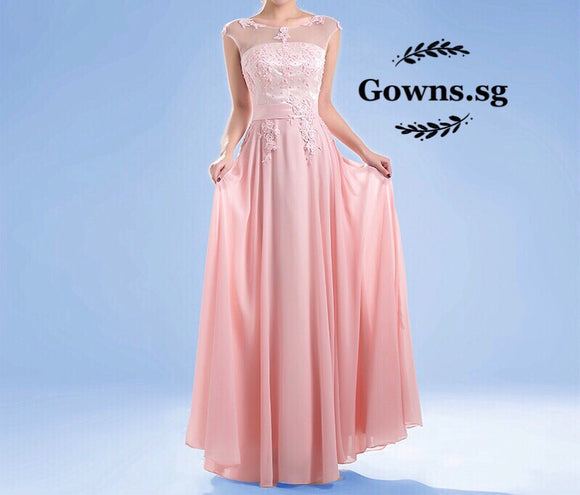 Maisy Illusion Gown In Pink (XL-7XL) - Gowns.sg