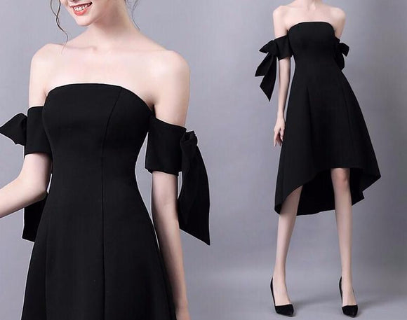 <EG051>Black Ribbon Elbow Mini Gown - Gowns.sg