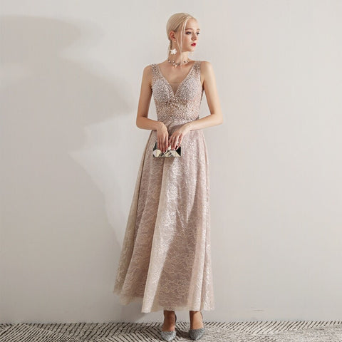 Graceful Pearl Studded Dress - Gowns.sg