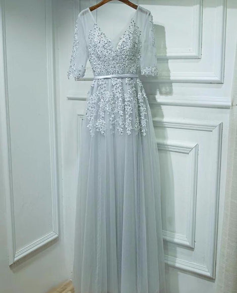 <EG057>Mesh And Tulle Gown In Elbow Sleeves - Gowns.sg