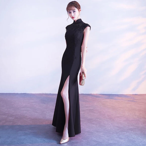 Carla Cheongsam in Black (S-XXL) - Gowns.sg