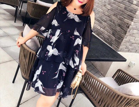 Swan Cut Out Plus Dress (L-3XL)