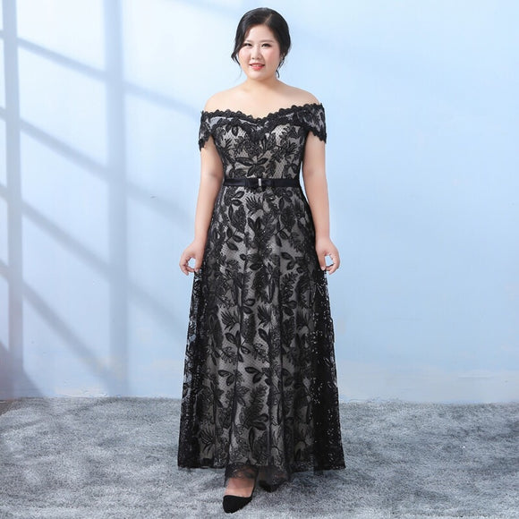 Lace Plus Evening Gown (XXL-6XL) - Gowns.sg