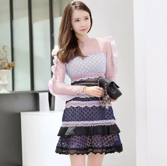 <best><CS077>Colorful Tier Lace Dress - Gowns.sg