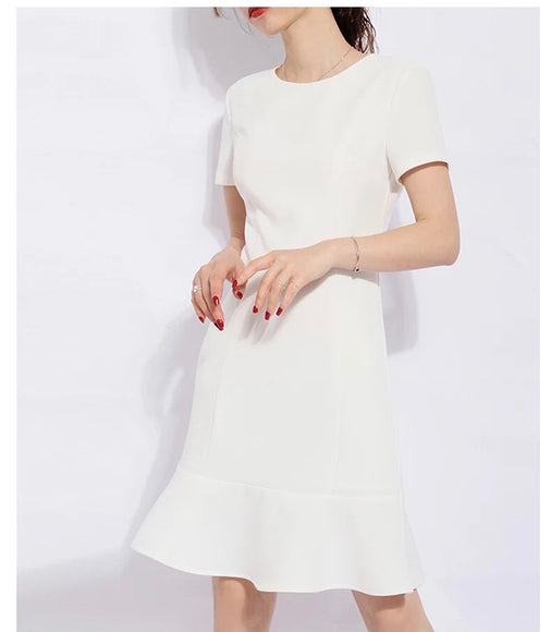 Tailored White Dress (S-XL) - Gowns.sg
