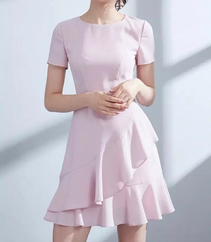 Tier Ruffle Hem Dress in Blush (XS-L)