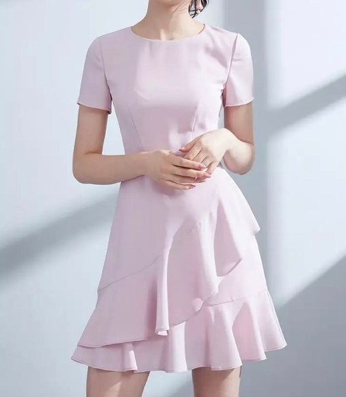 Tier Ruffle Hem Dress in Blush (XS-L) - Gowns.sg
