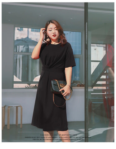 Waisted Shift Dress in Black (L- to 4XL) - Gowns.sg