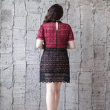 Colorblock Lace Dress (L-5XL) - Gowns.sg