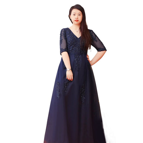 Mesh Sleeve Navy Gown(XL-10XL Customisable) - Gowns.sg