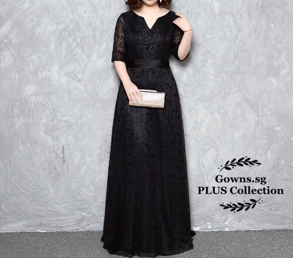 Black Long Lace Dress (XL-4XL) - Gowns.sg