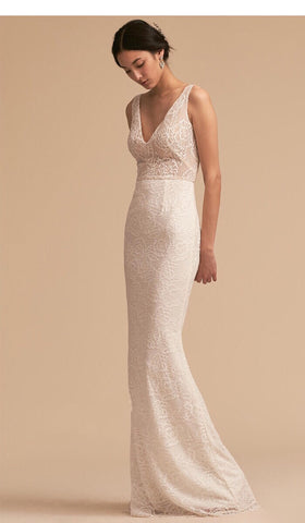 Dominique V Neck Lace Gown - Gowns.sg