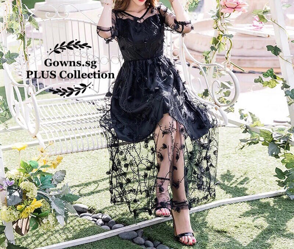 Floral Mesh Maxi Dress (S-4XL) - Gowns.sg
