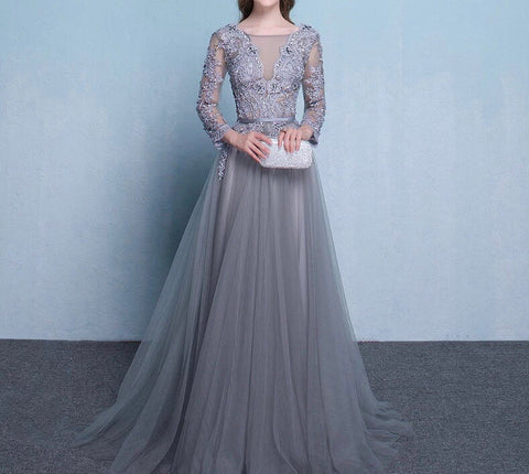 Plunging Neckline Evening Gown With Sleeves - Gowns.sg