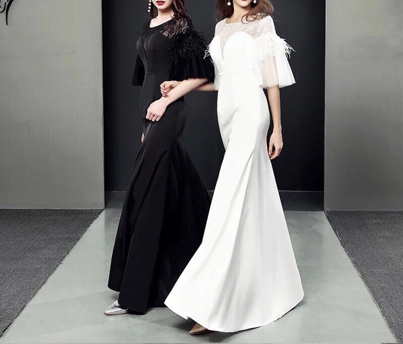 Jermaine Flutter Sleeve Gown (XS-3XL) - Gowns.sg