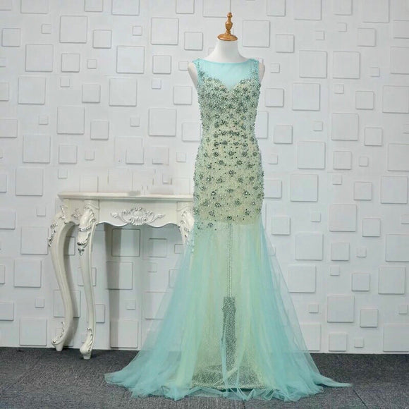 Keira Embellishments Gown in Aqua - Gowns.sg