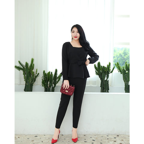 Plus Work Peplum Outfit (L-4XL)