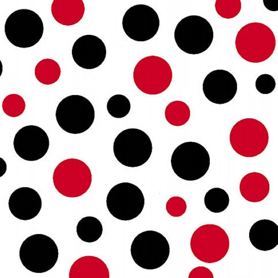 "AE Nathan 45"" Comfy Flannel Prints - Red and Black dots"