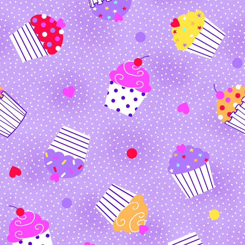 "AE Nathan 45"" Comfy Flannel Prints - Cupcakes on Dots/Purple"