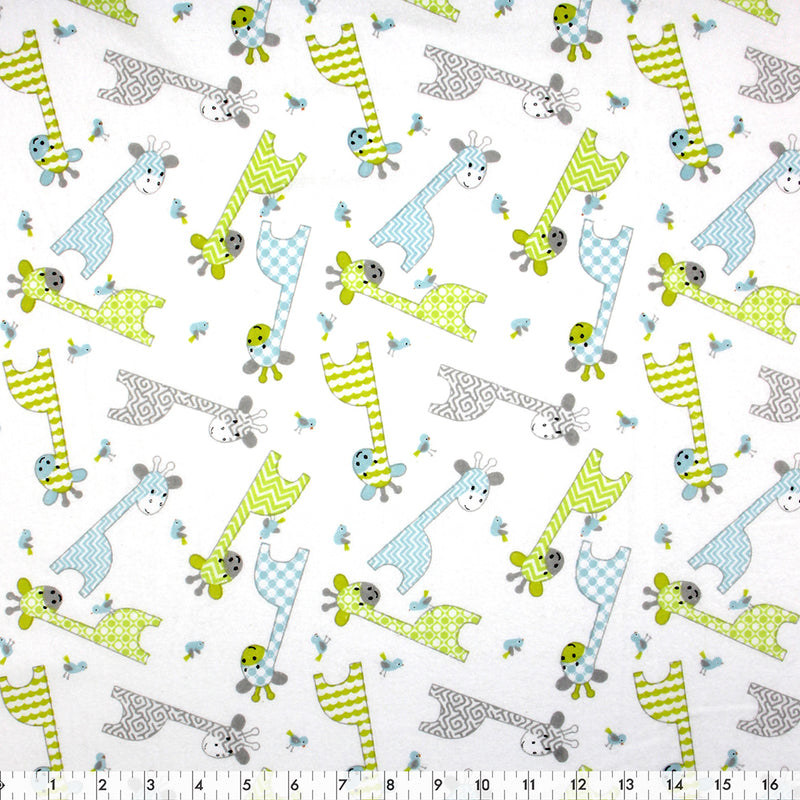 FABRIC CREATIONS 42″ Cotton Flannel  - White with Green Blue and Grey Baby Giraffes