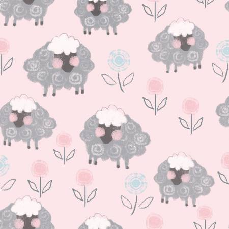 "AE Nathan 45"" Comfy Flannel Prints - Pink Sheep # 13874AE-PINK"