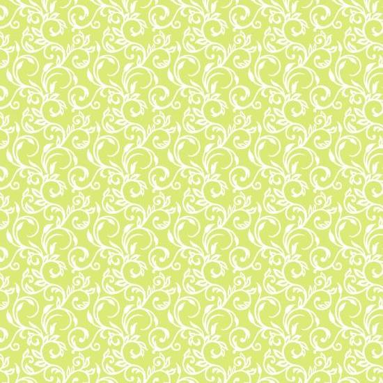 "45"" Cuddle Me Basics Flannel - White Vines in Green Background"