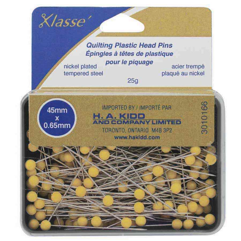 KLASSE´ Quilting Plastic Head Pins Yellow 165pcs - 45mm (13⁄4″) #3010166