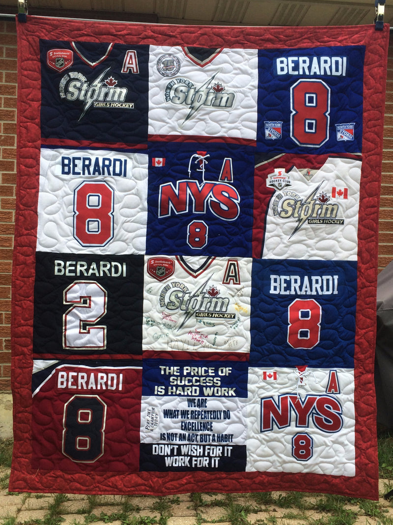 Hockey Jersey Quilt 16 blocks