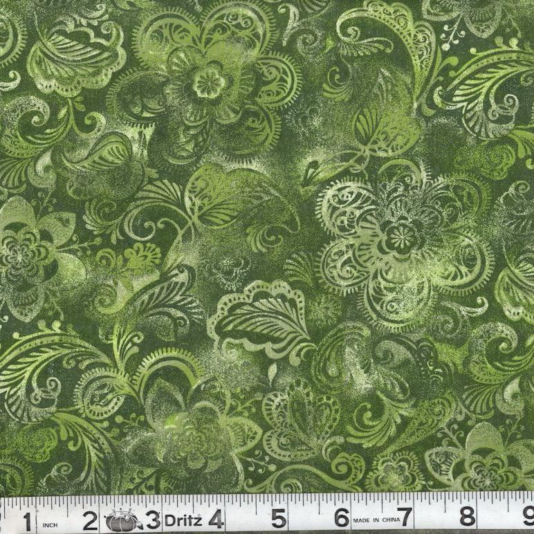 MDG 108″ Quilt Backing Batiks like Print - Green