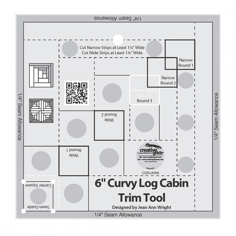 Creative Grids Curvy Log Cabin Trim Tool 6in Finished Blocks Quilt Ruler # CGRJAW6