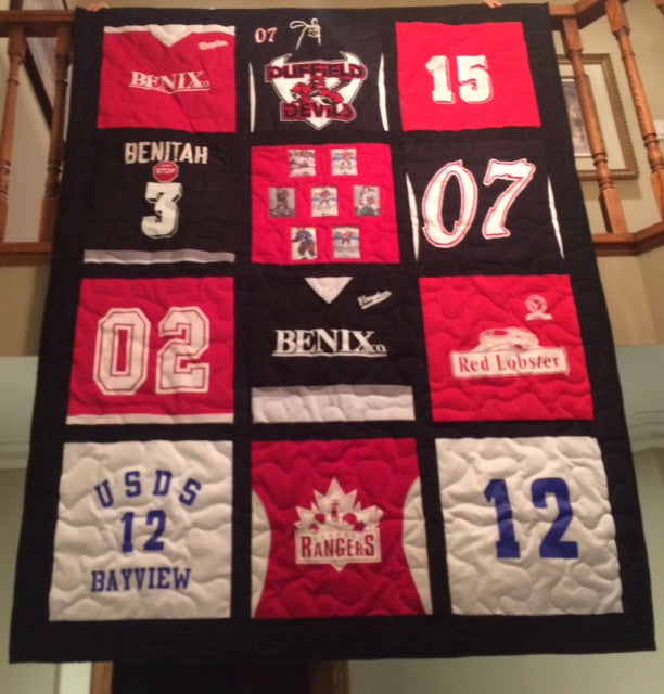 Hockey Jersey Quilt 12 blocks