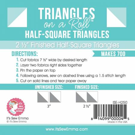 Triangles on a Roll 2-1/2in Half Square 50ft Roll # ISE-H250
