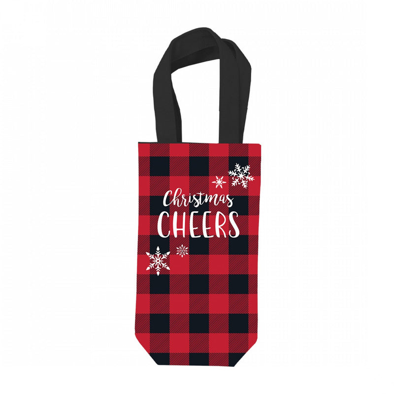 Christmas Cheers Wine Bag # MNA102VL-REDCHECK