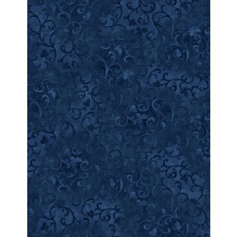 Wilmington Scroll Flannel 108in Wide Navy  Q1045 8400 449